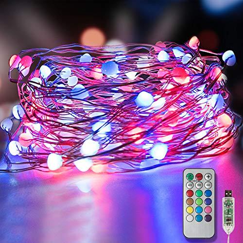 LED Bunt Lichterketten 10m 100 Leds, Homegoo USB Powered 12 Farben Ändern 12 Modi Fairy Rope Lichterketten mit Fernbedienung & Timer für Ostern Indoor Outdoor Party Hochzeit Weihnachtsdekoration