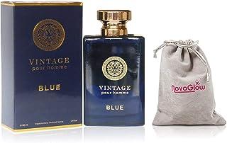 Vintage Blue Eau de Parfum Cologne for Men With Luxurious Suede NovoGlow Pouch - Aquatic Notes, Fig Leaves, Violet Leaves– 100ml – 3.4 oz - Perfect Gift For Men