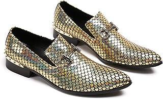 Mr.Zhang's Art Home Men's shoes Zapatos para Hombre con Punta Dorada, Discoteca, peluquería, Zapatos Transpirables