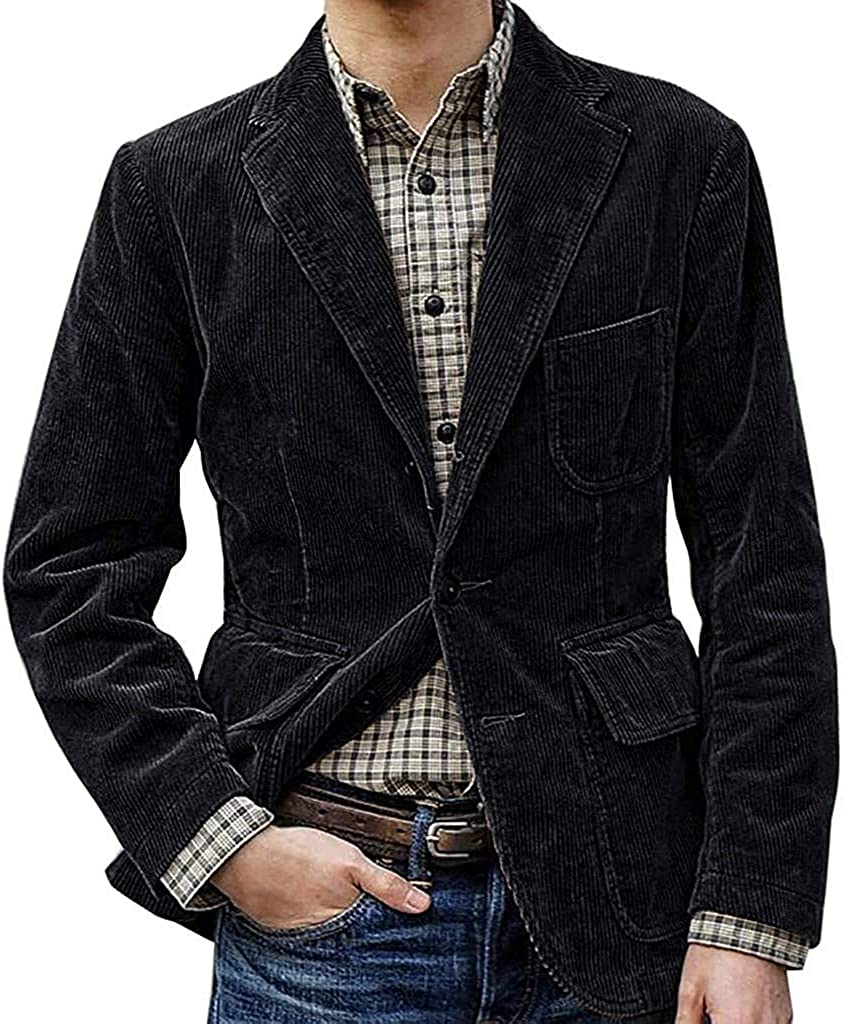 GHJX Men's Casual Three-Button Stripe Lined Cotton Twill Jacket, Casual Corduroy Single Breasted Suit Luxury Design