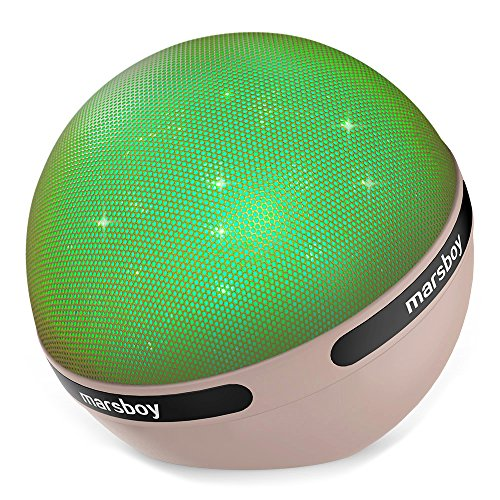 Bluetooth Speakers, Marsboy Wireless Portable 7 kinds LED Light Show Ball Bluetooth Speaker, Hifi Sound with TWS Function and Mic, 3000mAh Rechargeable Battery for 12 hrs Playtime, Cream