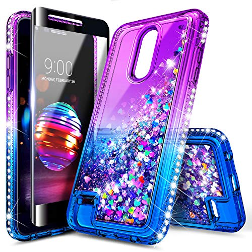 LG K30 Case, Phoenix Plus/Premier Pro LTE /K10 2018 /Xpression Plus/Harmony 2 w/[Tempered Glass Screen Protector], NageBee Glitter Liquid Quicksand Waterfall Floating Sparkle Cute Case -Purple/Blue