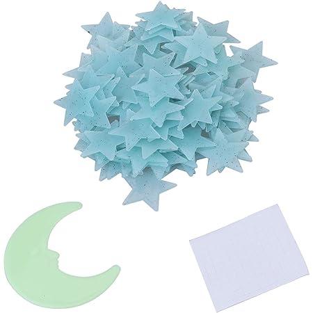VORCOOL 101pcs Lune Etoile Fluorescente Stickers Muraux Plafond Lumineux Bleu Clair