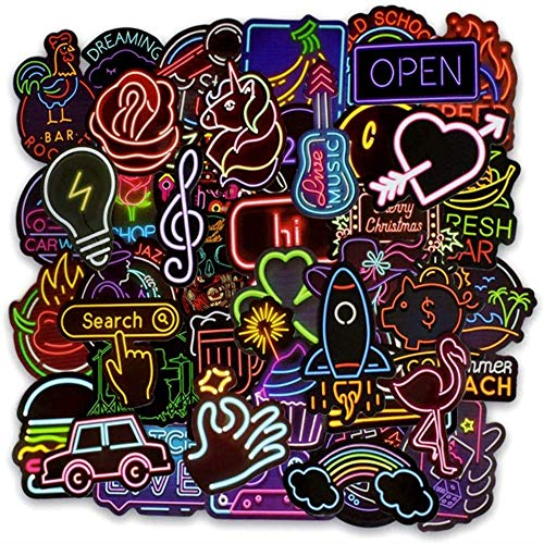 COTEY Graffiti Stickers, 100 Pieces Neon Stickers Cool Color Graffiti Sticker Cute Waterproof Neon Vinyl Stickers for Laptop, Skateboard, Luggage, Water Bottles, Guitar, Decorations