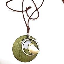 Houten ronde cirkel vogel hanger ketting retro etnische stijl lange lederen trui ketting sieraden groen zwarte kleur (leng...