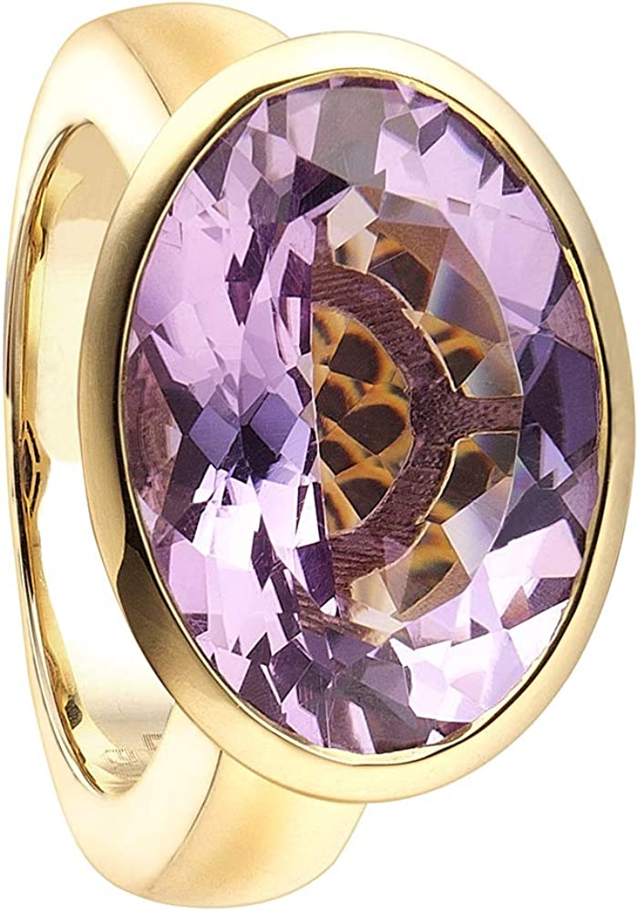 Duran exquse anello collezione diva in argento 925 placcato oro giallo con dettagli in ametista rosa Diva 2