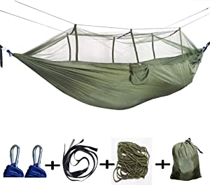 LUYION Camping Hammock with Mosquito Net 260X140cm Parachute Fabric Ultra-Light Portable Indoor Garden Outoor Hiking Sleeping Swing Bed Tent