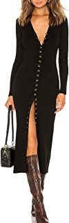 Women's Button Down Long Sleeve Sweater Dress Bodycon Party Maxi Dress 6088