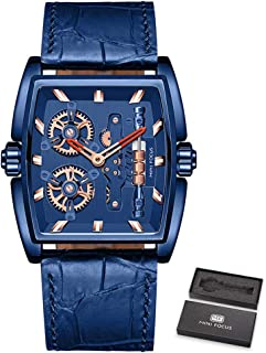 MINI FOCUS Men Watch Quartz Movement with Leather Strap Time Display Rotating Wheels Steampunk Style 3ATM Waterproof Male ...