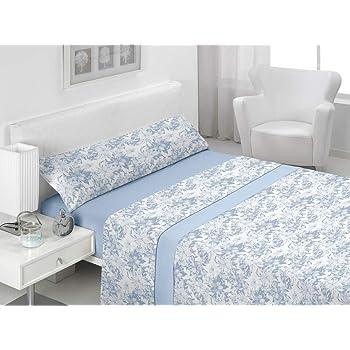 Basic Home Juego de sábanas 3 Piezas 100% algodón Amsi Azul Cama 150 cm: Amazon.es: Hogar