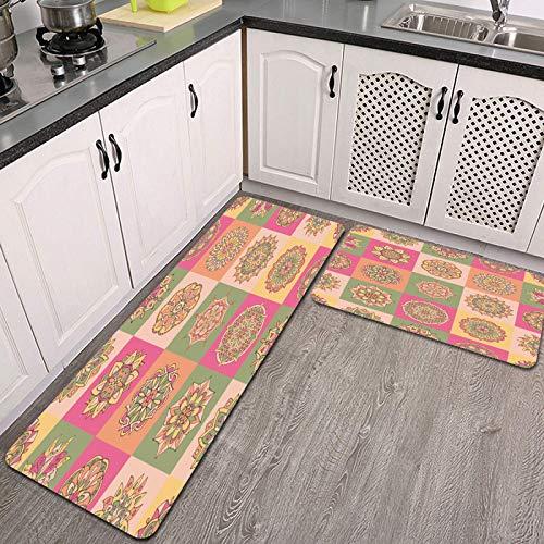 2 Piezas Alfombrillas de Cocina,patrón de Mosaico Abstracto con Flores Dibujadas a Mano Antideslizante Alfombra para Puerta de Baño Juego de alfombras Cocina Lavables