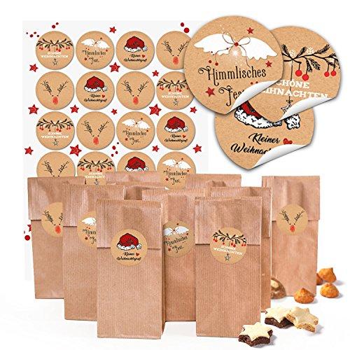24 braune kleine Kekstüten mit Boden Weihnachten Papiertüten (7 x 4 x 20,5 cm) + 24 runde Aufkleber 4 cm schwarz-rot-weiß (14126) Verpackung für Weihnachtsgeschenke give-aways Mitgebsel