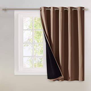 NICETOWN Thermal Insulated 100% Blackout Curtain, Noise Reducing Performance Grommet Slider Curtain Panel with Black Linin...