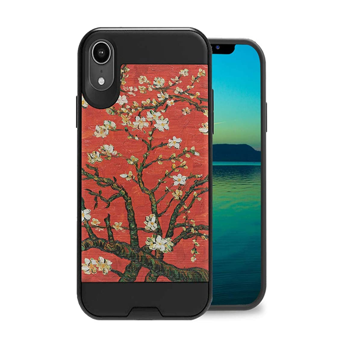 Zicomaxcap Case Compatible with iPhone Xs Max [Hybrid Fusion Supports Qi Wireless Charging Dual Layer Slick Armor Case Black] for iPhone Xs Max - (Red Almond Branches in Bloom)