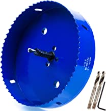 Eliseo 6 inch 152 mm Hole Saw Blade for Cornhole Boards/Corn Hole Drilling Cutter & Hex Shank Drill Bit Adapter for Cornhole Game/Carbon Steel & BI-Metal Heavy Duty Steel (Blue)