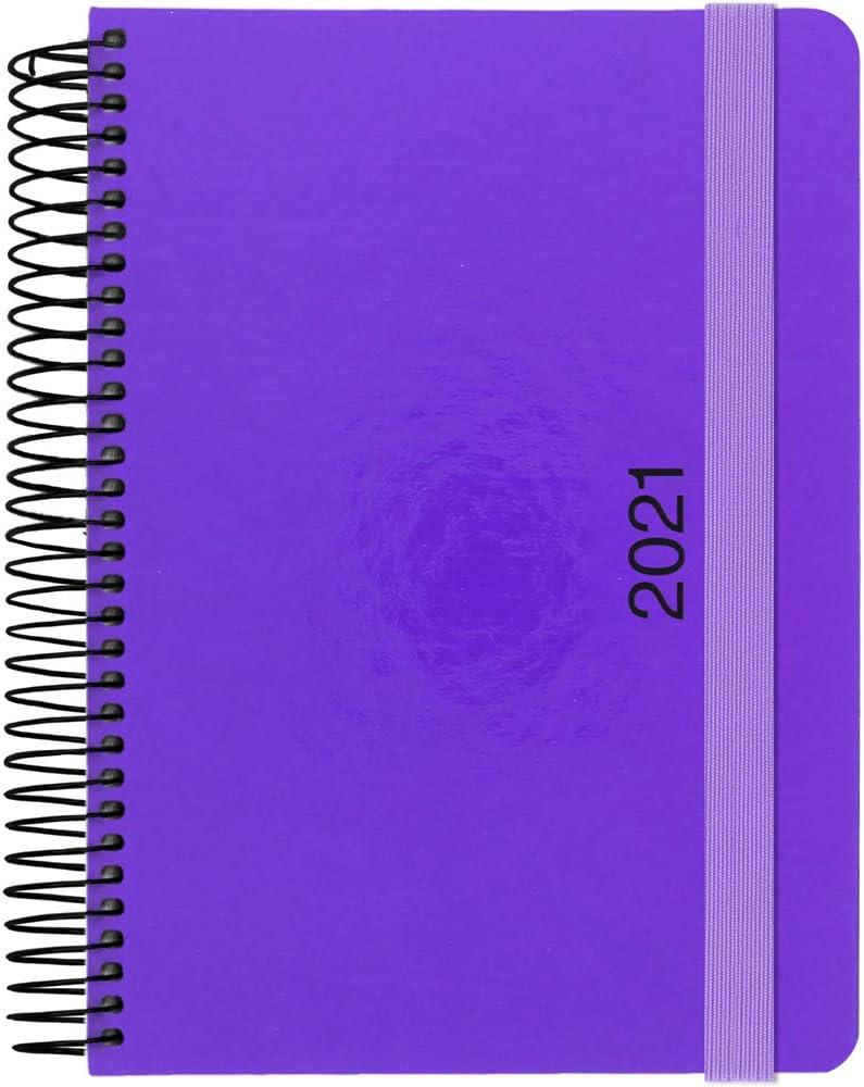 Grafopl/ás 70300852 papier 70 g, jour de page Agenda 2021 Spirale couverture rigide doubl/ée avec fermeture en caoutchouc s/érie n/éon 15 x 21 cm orange