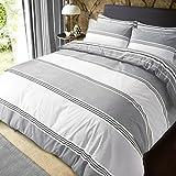 Sleepdown - juego de cama, funda nórdica, tamaño individual, algodón poliéster, gris, matrimonio