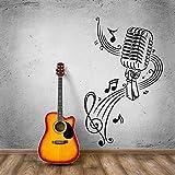 CHTHREEC Etiqueta engomada de la pared del micrófono Música Karaoke Arte de la pared Mural Tablero del micrófono Vinilo bellamente decorado Etiqueta de la pared Decoración musical 42 cm x 69 cm