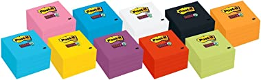 Post-it Super Sticky Notes, 3 in x 3 in, 5 Pads, 2x the Sticking Power, Black, Recyclable (654-5SSSC)