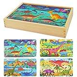 Herefun Puzzles de Madera Juguetes Educativos, Juguete de Madera Puzzle para Niños Puzzles Infantiles, Rompecabezas de Madera Set Paquete de 4 Regalos de Cumpleaños para niños (Dinosaurio)