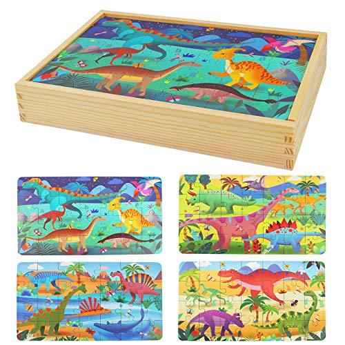 Herefun Holzpuzzle Spielzeug, Kinder Tier Holzpuzzle Jigsaw Puzzles Set Kinder Holzpuzzle, Montessori Spielzeug Puzzle für Kinder, Doppelseitige Holzpuzzle für ab 3 Jahre Mädchen Junge (Dino Puzzles)
