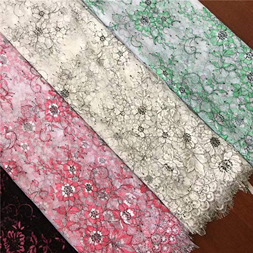 Nieuwe Franse wimper kant stof Diy prachtige kant borduurwerk kleding trouwjurk accessoires RS1645, gebroken wit, 3 meter