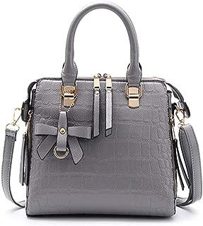 Fashion New Retro Casual Fashion Bills Shoulder Slung Large Capacity Women's Bag Leather Handbag (Color : Gray)
