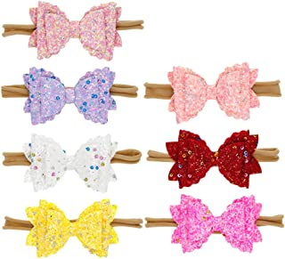 TOYANDONA 7pcs Bowknot Hair Band Bow Hairband Sequin Hair Wrap Bow Hairband Cute Kids Wrap Flower Printed Hair Headband for Infant Baby