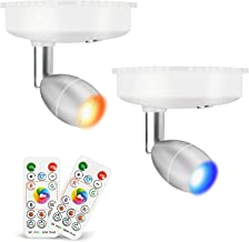 LED Spotlight,RGB Wireless Spotlight,LED Accent Lights Battery Operated with Remote, Dimmable Puck Light with Rotatable Li...