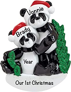 Panda Family of 2 Personalized Ornament - (Unique Christmas Tree Ornament - Classic Decor for A Holiday Party - Custom Decorations for Family Kids Baby Military Sports Or Pets)