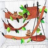 Túnel de cama colgante y jaula de columpio Accesorios para nidos con hojas Patrón de bosque Jaula de juguete para mascotas pequeñas Hámster Rata Pájaro Loro Planeador de azúcar Ardilla Jugar a dormir