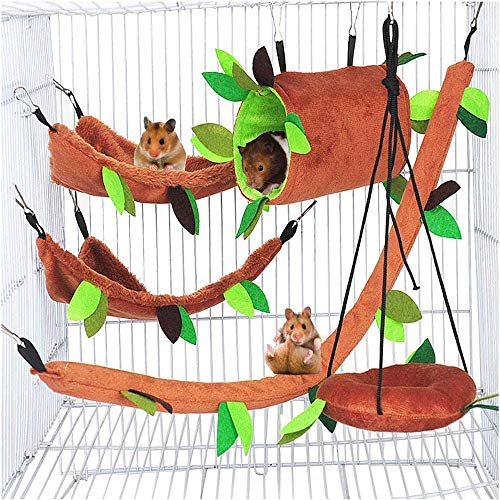 Hamster Hammock Rat Bird Parrot Hanging Warm Bed House Cage Nest Accessories Forest Pattern Cage Toy Leaf Hanging Tunnel and Swing for Sugar Glider Squirrel Hamster Playing Sleeping Pack of 5