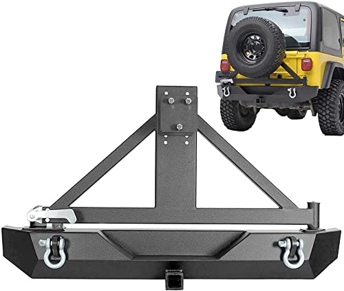 discount Mallofusa Rear Bumper popular with Tire Carrier discount Hitch Receiver D-Rings for 07-16 Jeep Wrangler JK Black Textured sale