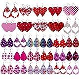 shenruifa Lot de 30 paires de boucles d'oreilles pendantes en cuir pour femme - Cadeau de Saint Valentin personnalisé