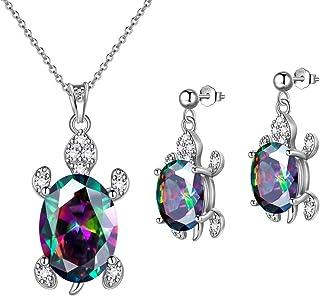 Hipunk Turtle Jewelry 925 Sterling Silver Women Animal Sea Turtle Birthstone Necklace/Earring/Ring/Bracelet Sets Birthday ...