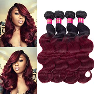Black Rose 7A Grade Brazilian Virgin Human Hair Extensions 4 Bundles 24 Inches Ombre Body Wave Hair Weft #T1B/99j Color Human Hair Weave Pack of 4