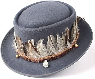 2019 Mens Womens Hats Unisex Men Women Flat Top Hat Feather Pork Pie Hat Fedora Jazz Hat Flat Tassel Trilby Hat Boater Casual Wild Hat Size 56-58CM Outdoor Wild (Color : Gray, Size : 58)