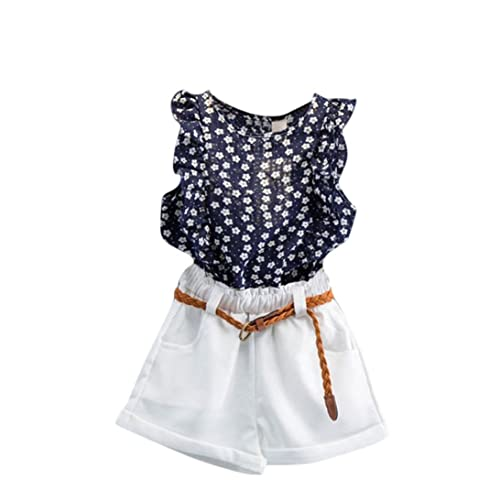 d68c085f5f FeiliandaJJ Girls Clothes Set, 3Pcs Baby Kids Summer Cute Floral Printed  Sleeveless T-Shirt