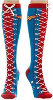 Wonder Woman Faux Lace Up Knee High Socks Size ONE SIZE