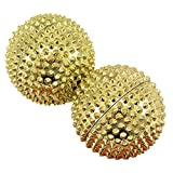 chi-enterprise 2 magnetische Akupressur-Massage-Kugeln in gold groß I Für wohltuende & entspannende Massagen oder als Skill-Ball zum Stressabbau I Massageball Ø 55 mm I Set 2 Stück -