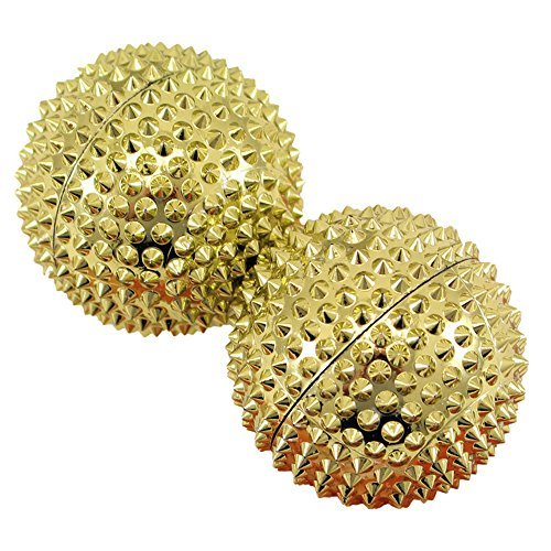chi-enterprise 2 magnetische Akupressur-Massage-Kugeln in gold groß I Für wohltuende & entspannende Massagen oder als Skill-Ball zum Stressabbau I Massageball Ø 55 mm I Set 2 Stück