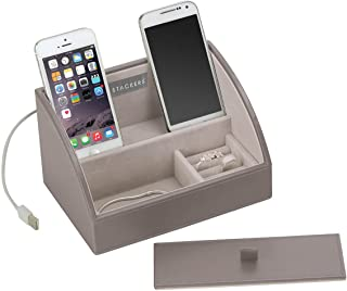 tabletas y joyas Stackers mini size charging valet aparador superior organizador para tel/éfonos blanco con forro de terciopelo gris