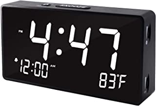 Alarm Clocks for Bedrooms, 5.5 Inch White Digit Display with Adjustable Brightness Dimmer, Temperature Display, 12/24Hr, Snooze, Adjustable Alarm Volume, Sleep Timer.