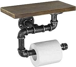 Wandgemonteerde toiletrolhouder met houten plank Vintage industriële pijp Tissuepapierrolhouder voor badkameropslag 12 Inch