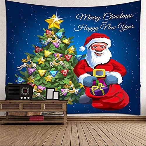 KnBoB Tapiz para Pared Papá Noel y Árbol de Navidad 240 x 220 CM Tejido Poliéster Impresión Digital Decoracion Salon Modernos