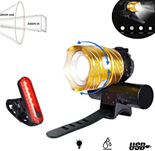 LED Bike Light USB Rechargeable, Abcty 1200 Lumens Bicycle Headlight Set Free Bike Taillight, Easy to Install and Fits All Mountain, Road Bicycles, Waterproof, Adjustable Focal Length Cycling(Gold)