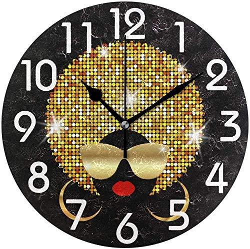 LKLFC Reloj de Pared Retrato de Mujer Africana Estampado con Cabello Brillante Gafas de Sol Doradas Pretty Home Office Print School Reloj de Pared Silent Classic Unisex Colo