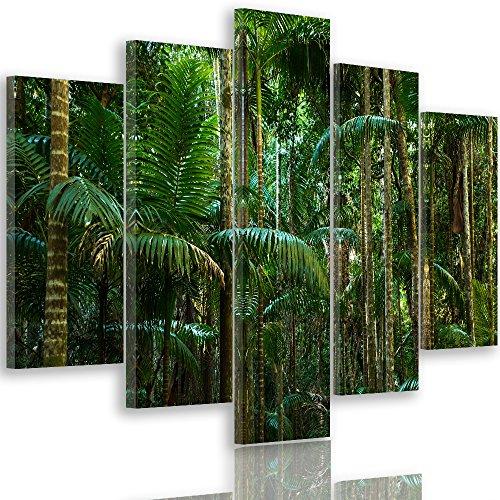 Feeby. Quadro multipannello - 5 Pannelli - Quadro su Tela, Stampa Artistica, Moderno Canvas, 5 Parti, Tipo A, 200x100 cm, Giungla, Felce, Foresta, Natura, Verde