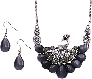 Rosemarie Collections Women's Stunning Resin and Crystal Rhinestone Peacock Necklace and Earrings Set