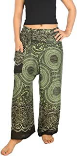 Lannaclothesdesign Women's and Men's Traditional Thai Fisherman Yoga Pants Wide Leg Trousers